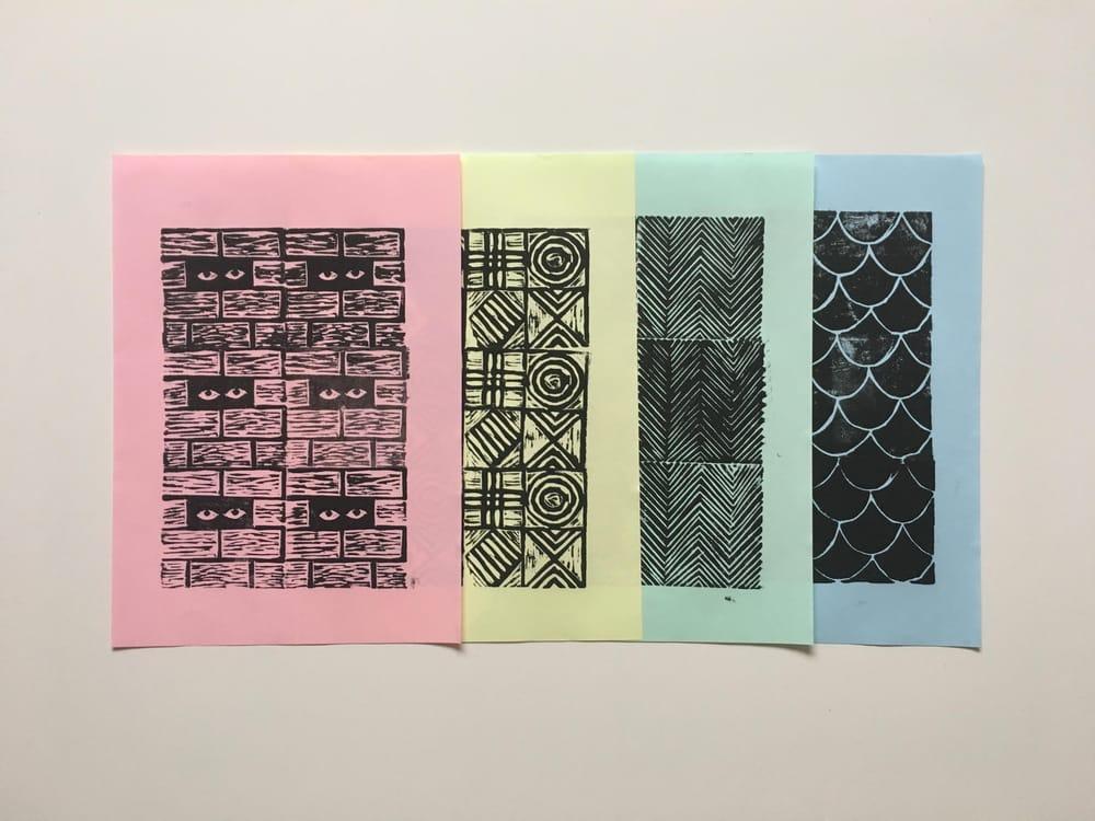 Geometric Linocut Patterns - image 7 - student project