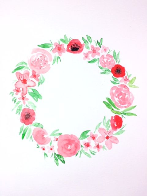 Watercolor wreath - image 1 - student project