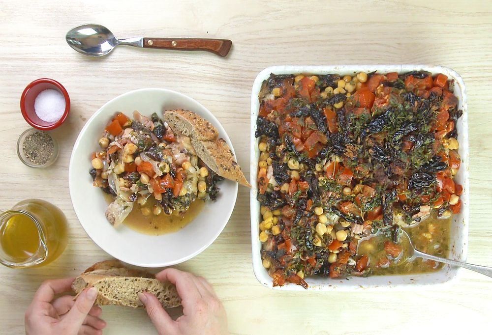 Chickpea Chicken Roast with Prunes, Tomatoes and Thyme - image 4 - student project