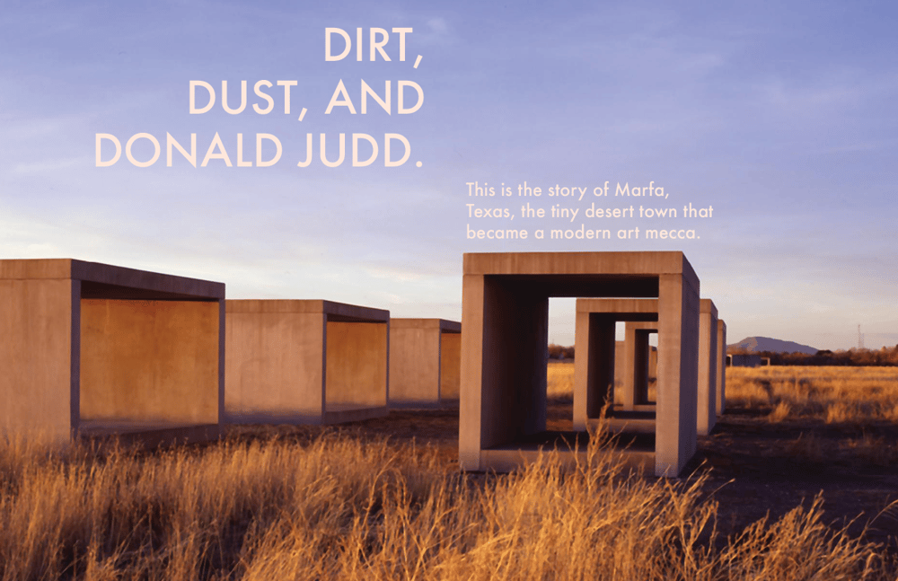 Magazine Layout: Contemporary Art in Marfa, Texas - image 1 - student project