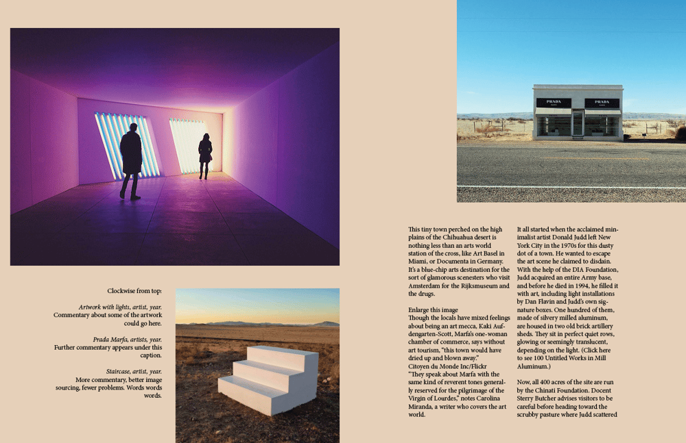 Magazine Layout: Contemporary Art in Marfa, Texas - image 4 - student project