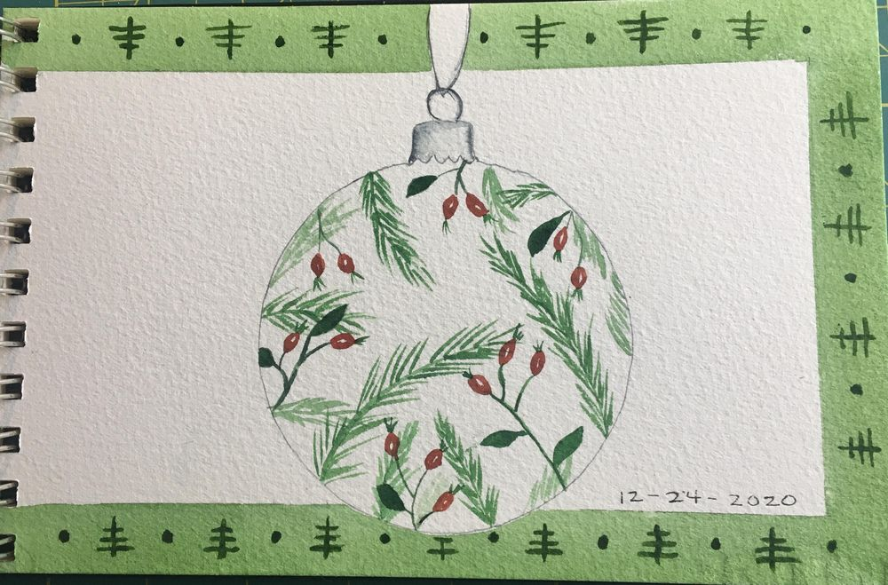Winter watercolor in my journal - image 3 - student project