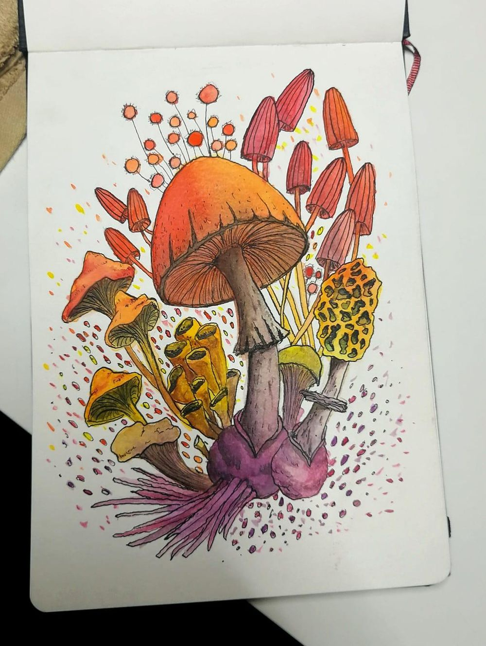 mushroom ink + watercolor - image 1 - student project