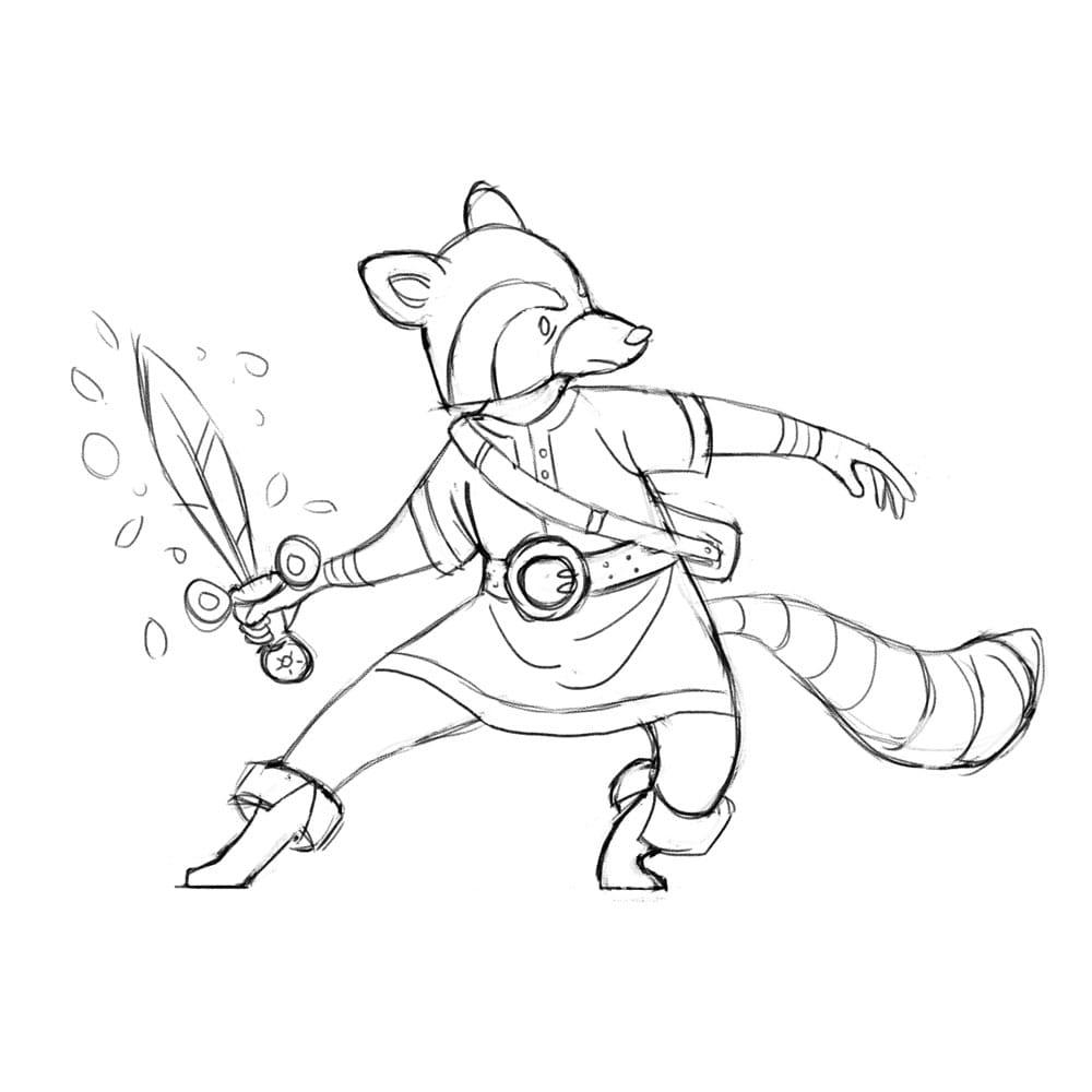 Raccoon Swordsman - image 4 - student project