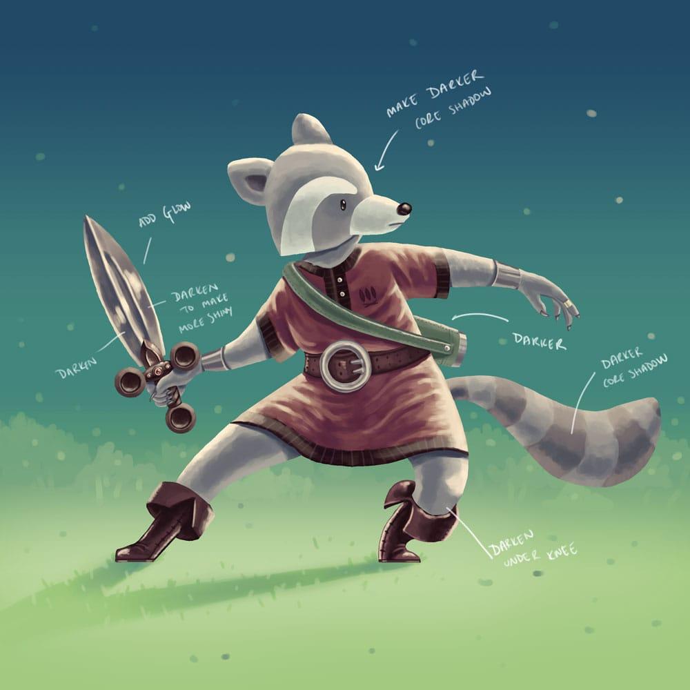 Raccoon Swordsman - image 8 - student project