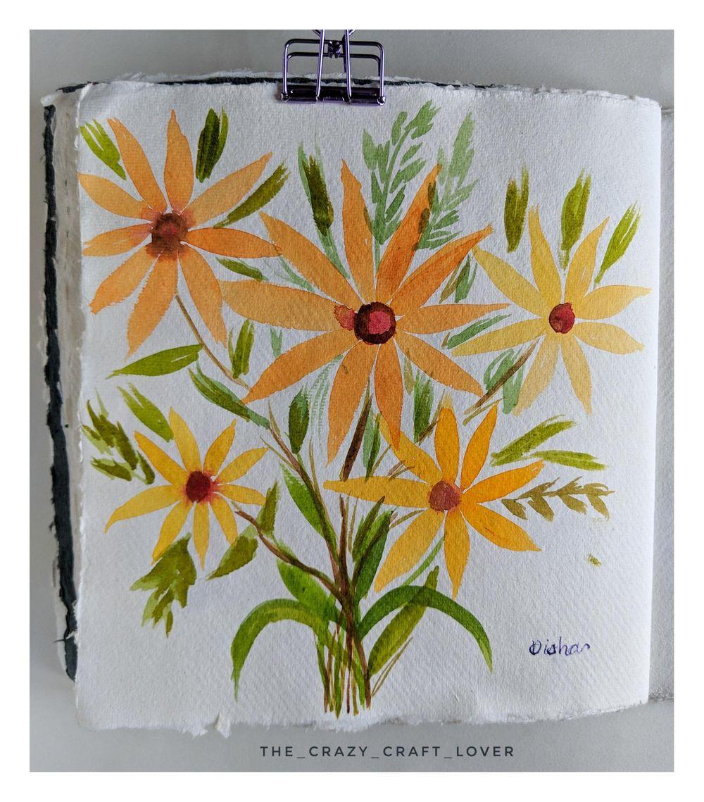 Loose watercolour floral bouquet - image 2 - student project
