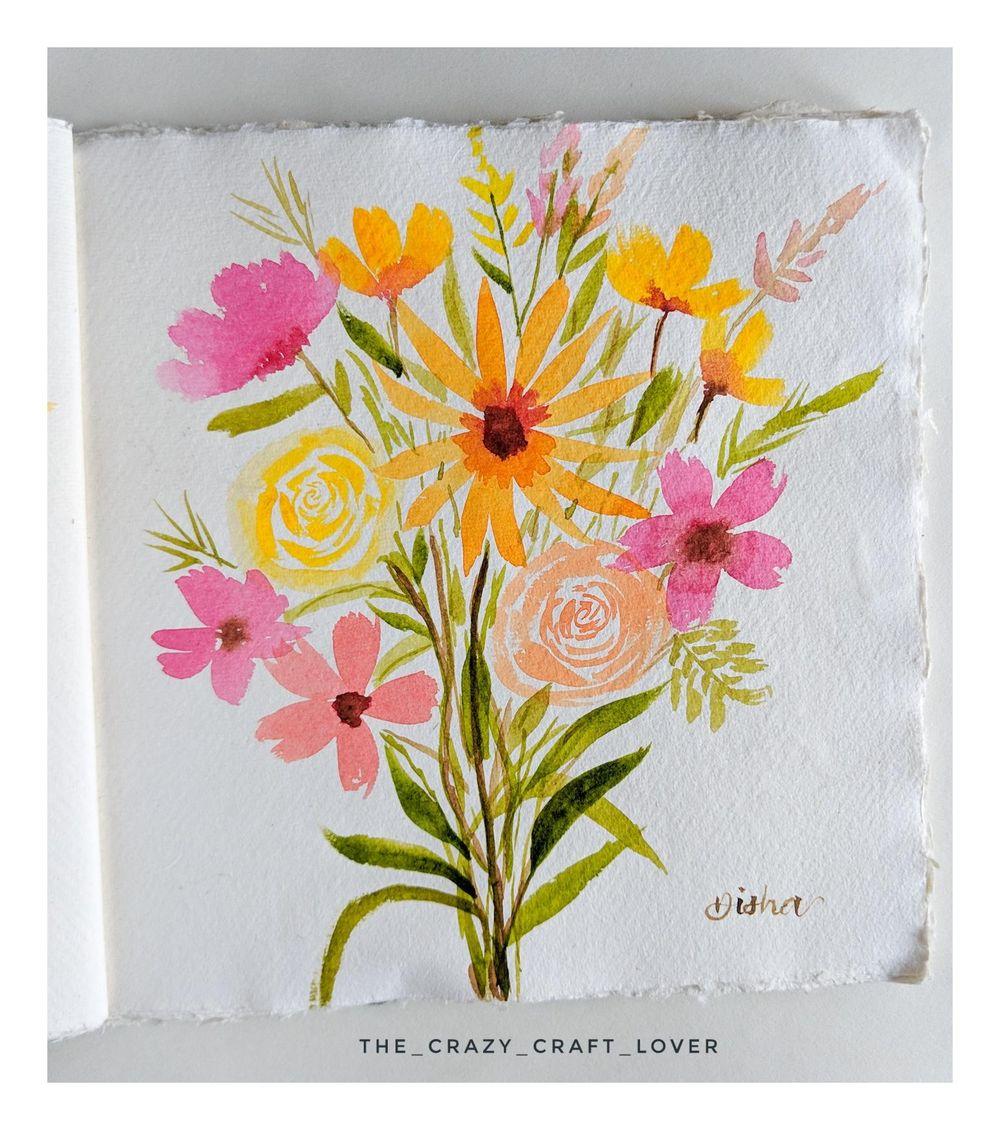 Loose watercolour floral bouquet - image 1 - student project
