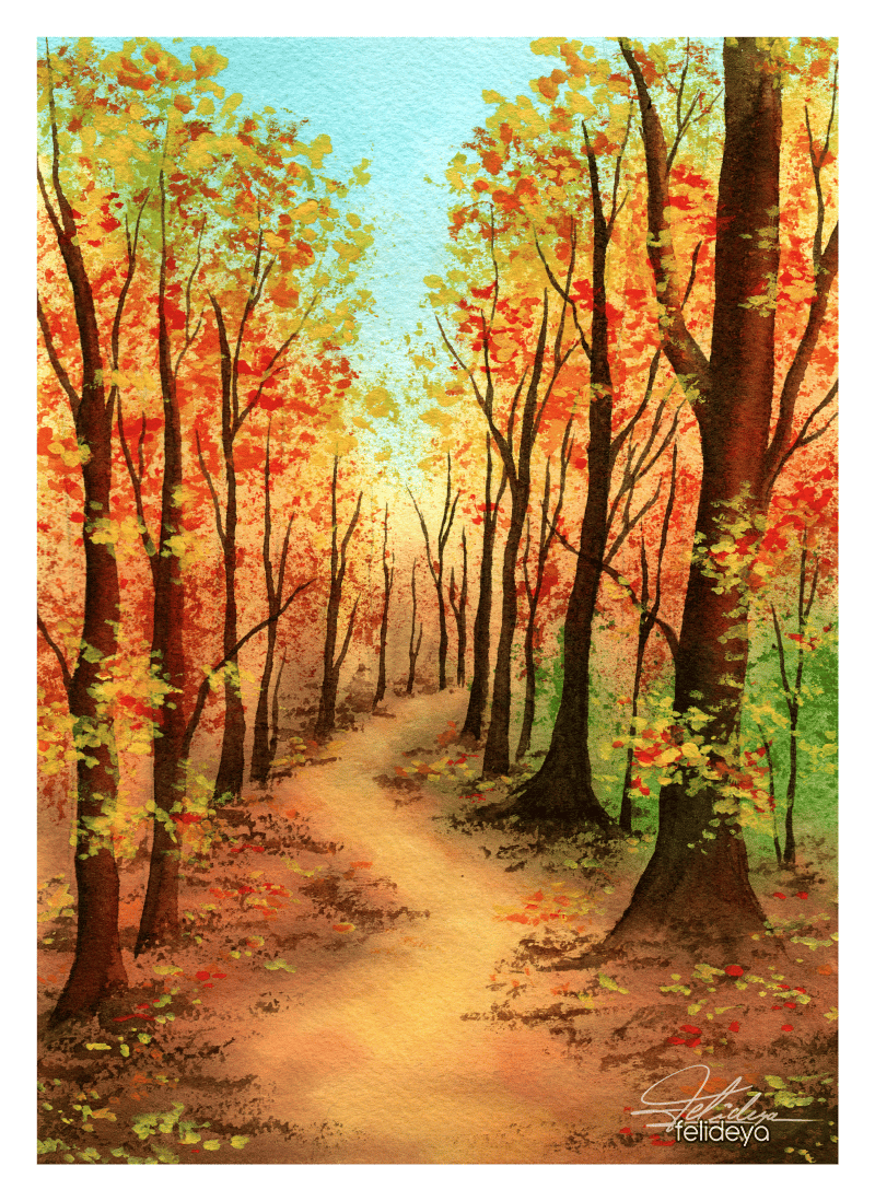 Autumn landscapes with watercolor - image 2 - student project
