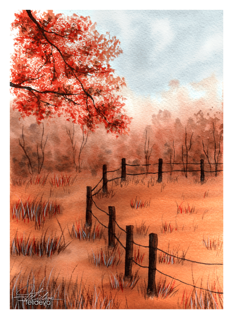 Autumn landscapes with watercolor - image 3 - student project