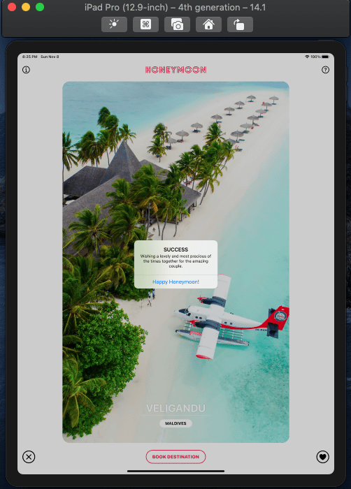 Build Honeymoon a Tinder-Like iOS App with SwiftUI - image 11 - student project