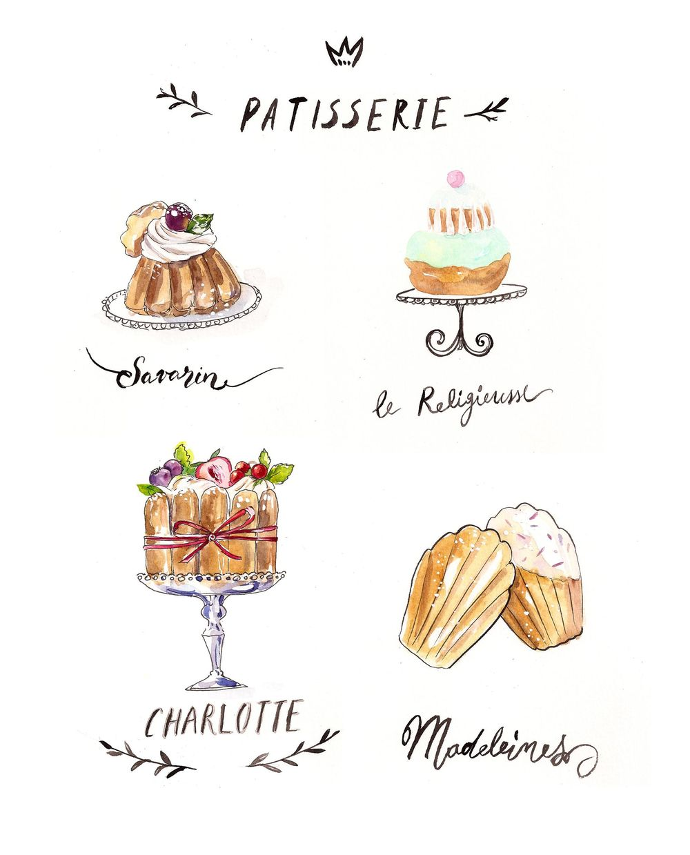 French Desserts in ink and watercolor Sample Project - image 1 - student project