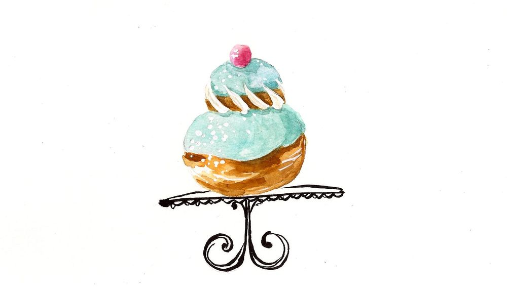 French Desserts in ink and watercolor Sample Project - image 2 - student project