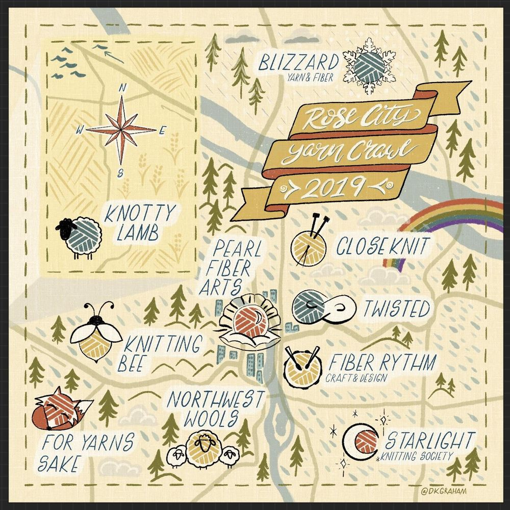 Illustrated map of the Rose City Yarn Crawl 2019 - image 1 - student project