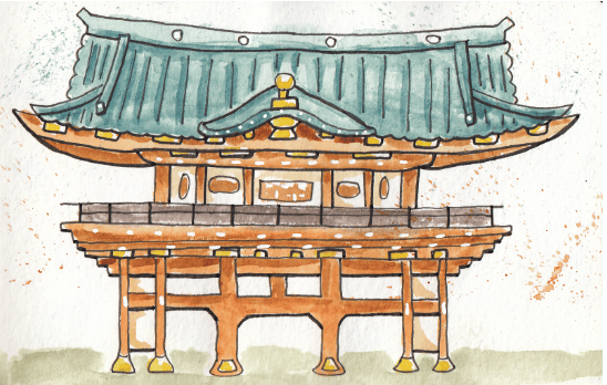 Watercolour Japanese buildings - image 3 - student project