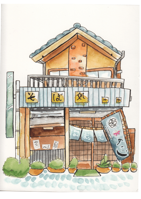 Watercolour Japanese buildings - image 2 - student project