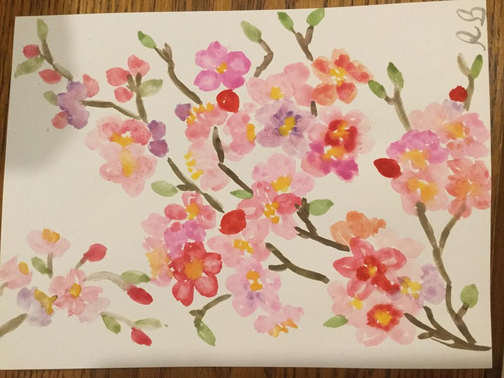 Cherry blossoms first time painting - image 1 - student project