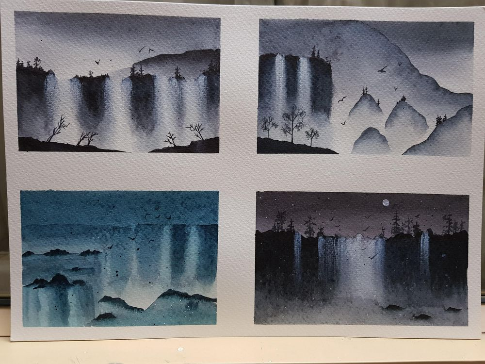 Misty watercolor waterfalls - image 1 - student project