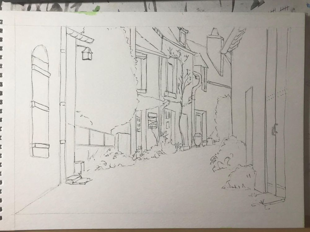French Street in Watercolour - image 1 - student project