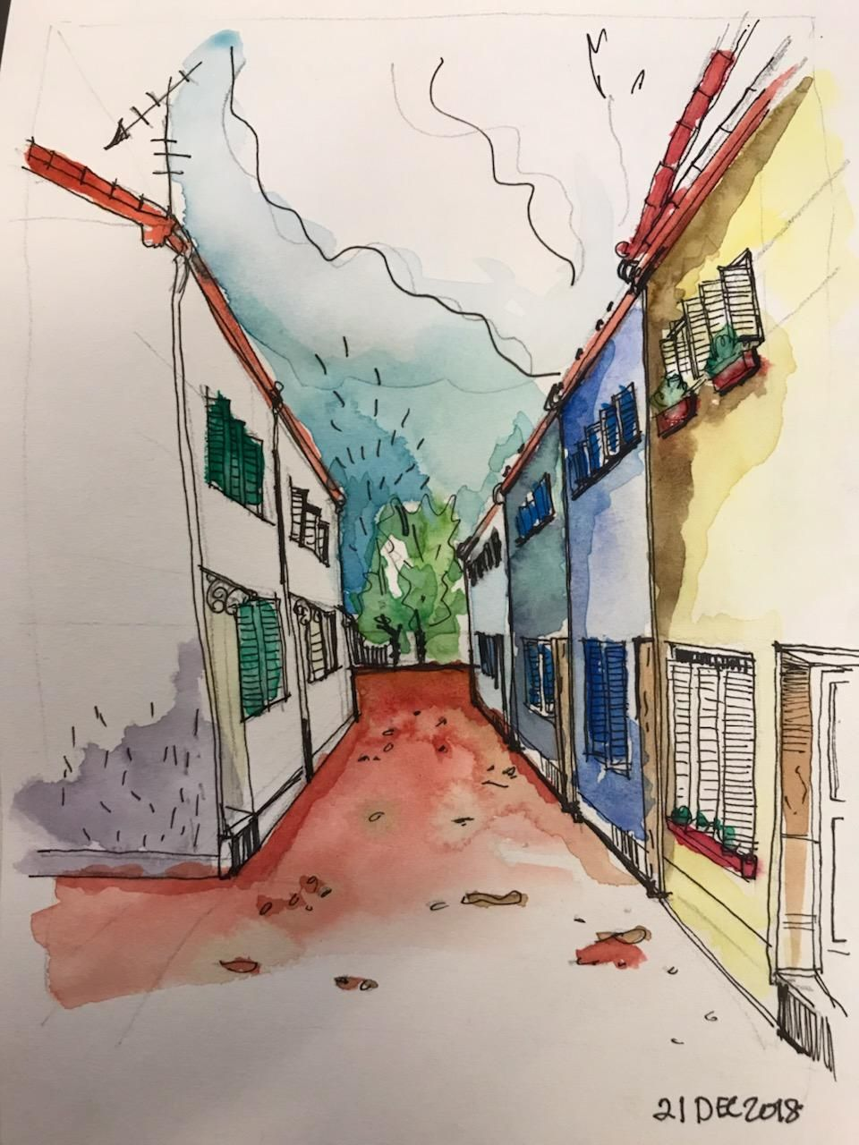 One Point Perspective Sketch - image 1 - student project