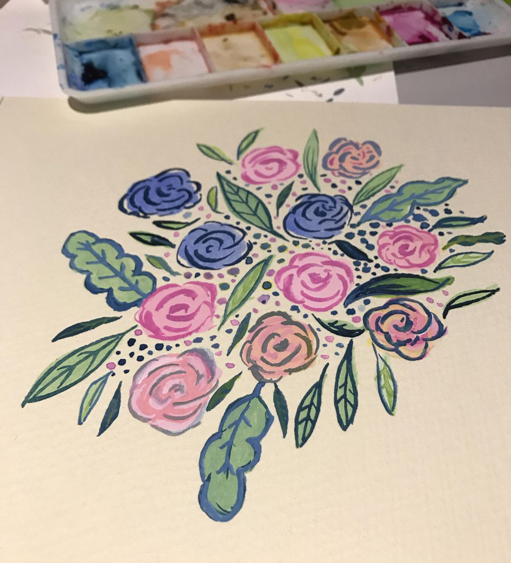 Watercolour florals - image 3 - student project