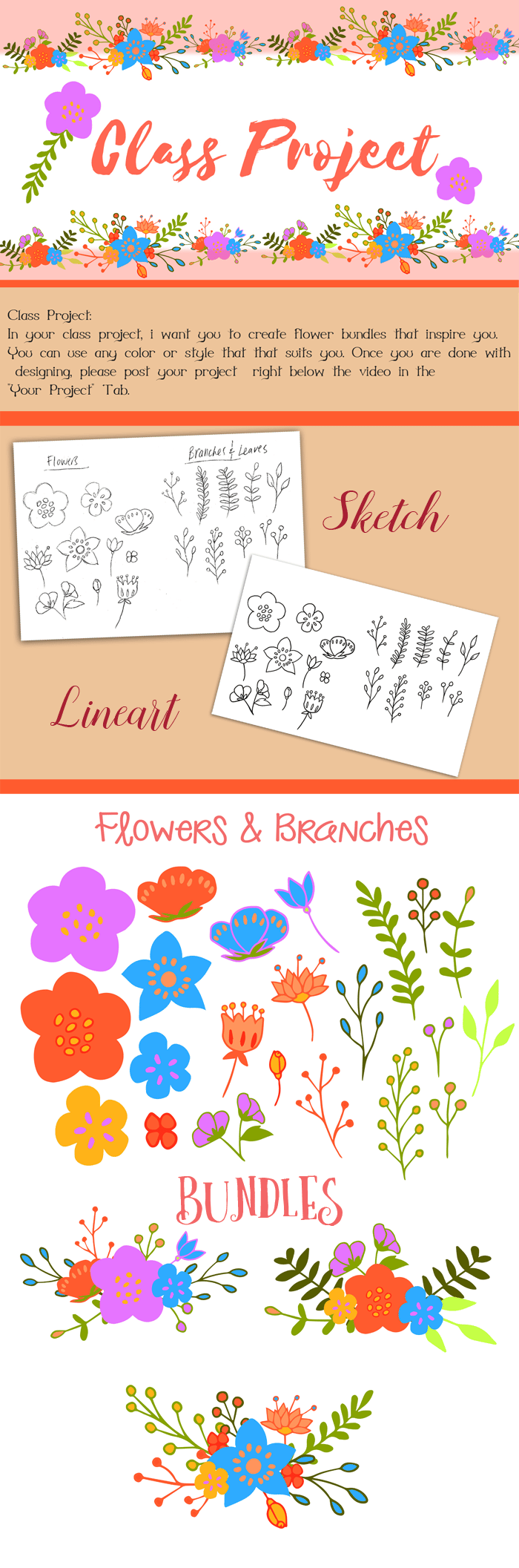Hand-Drawn Series- Learning to Create Flower Bundles in Adobe Illustrator - image 1 - student project