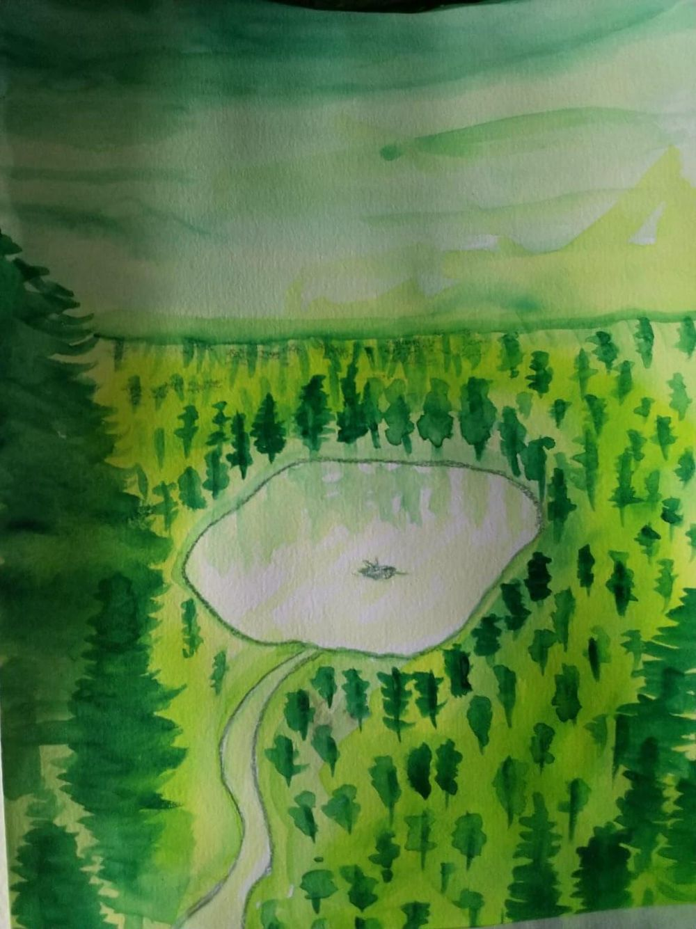 Water color: lonely fisherman. - image 1 - student project