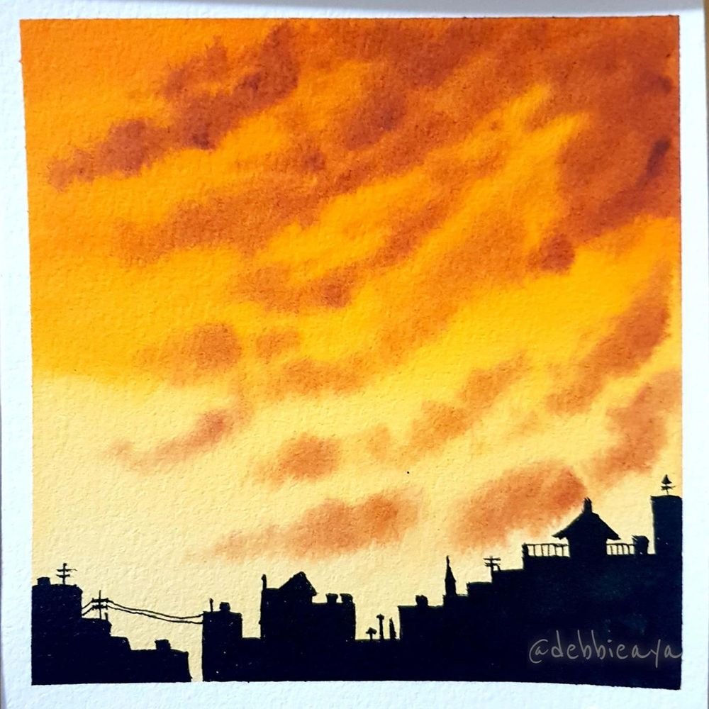 30 Day Watercolor Challenge:  Bold and Beautiful Skies - image 6 - student project