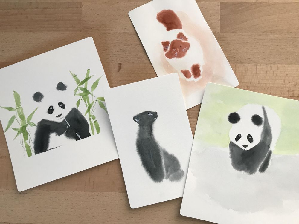 Fluffy watercolor animals - image 1 - student project