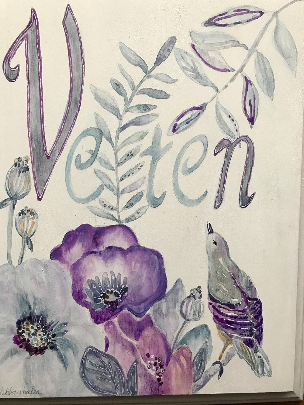 Flowers & Bird Name Plaque - image 1 - student project