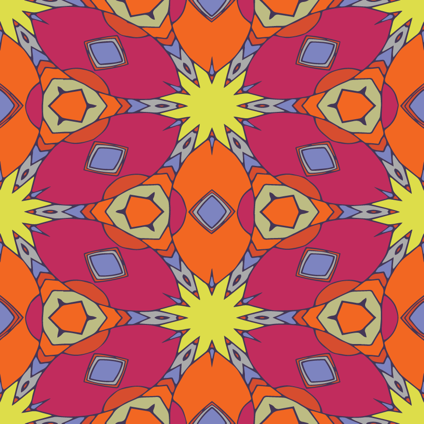 Mandala Pop Pattern  - Recolor Using Several Methods - image 8 - student project