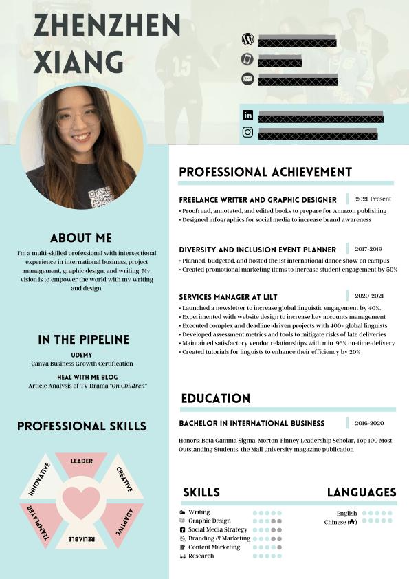Zhenzhen's Resume - image 1 - student project