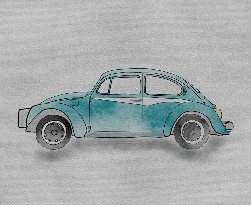 Watercolor VW Bug - image 1 - student project