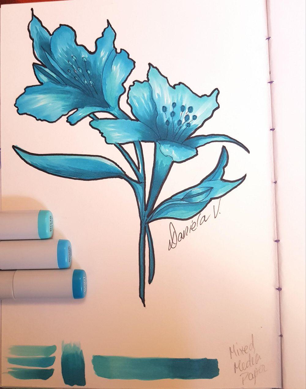 My 3-Marker Flower Illustration - image 1 - student project