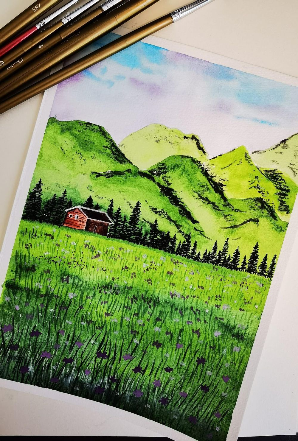 My first attempt to draw a watercolour landscape. - image 1 - student project