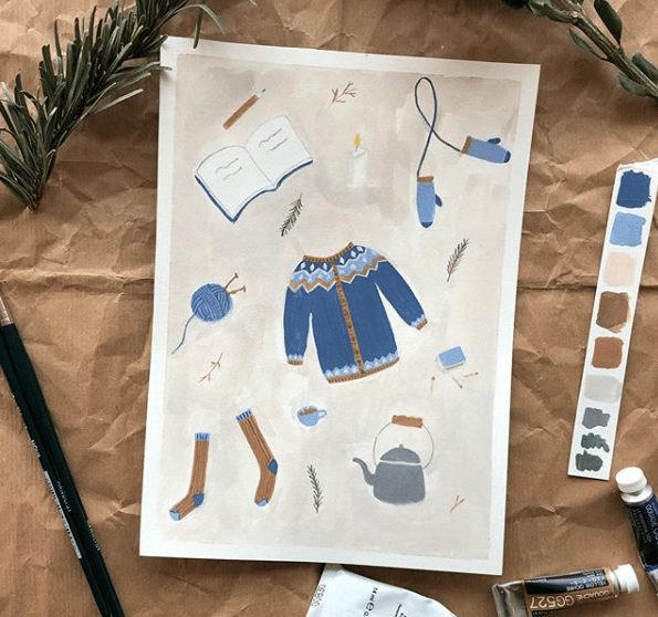 Gouache winter illustrations - image 1 - student project