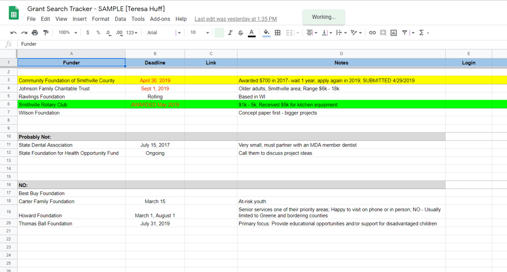 My Grant Search Tracker - image 1 - student project