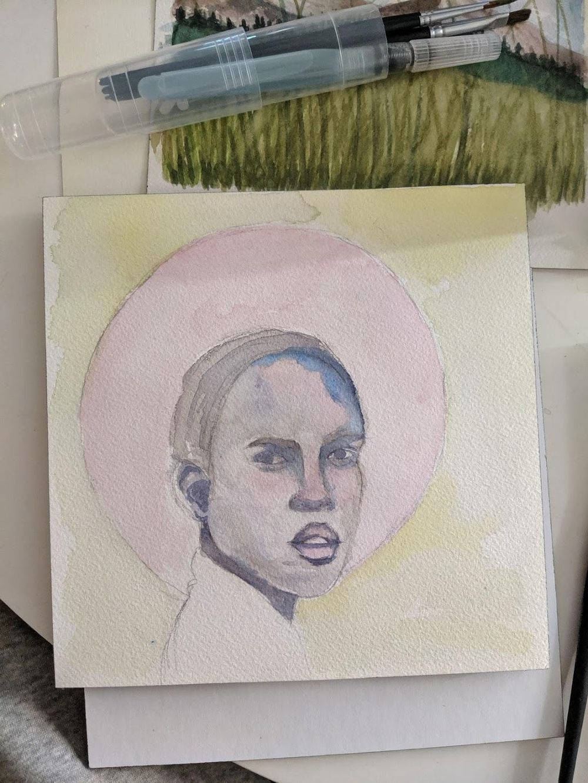 Watercolor portrait - image 3 - student project
