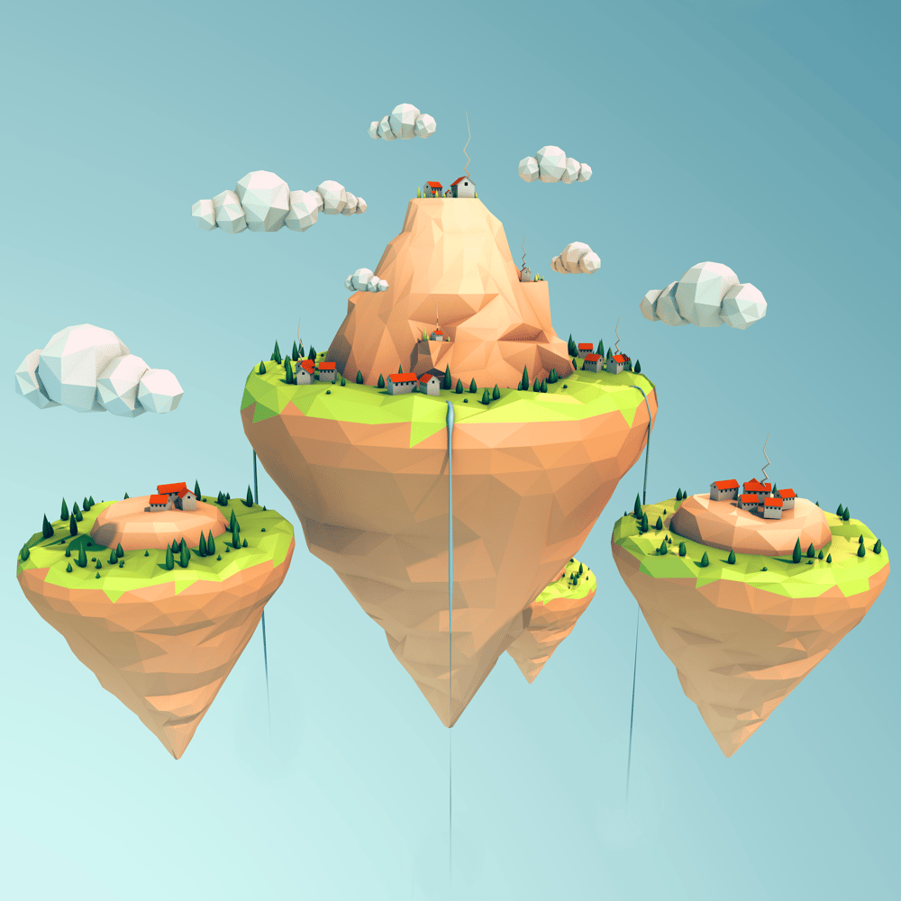 Low Poly Floating Island - image 1 - student project