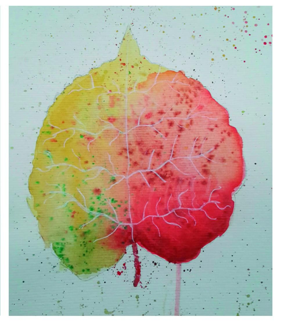 watercolor tree leaf. Project made by two. Me and my daughter - image 1 - student project