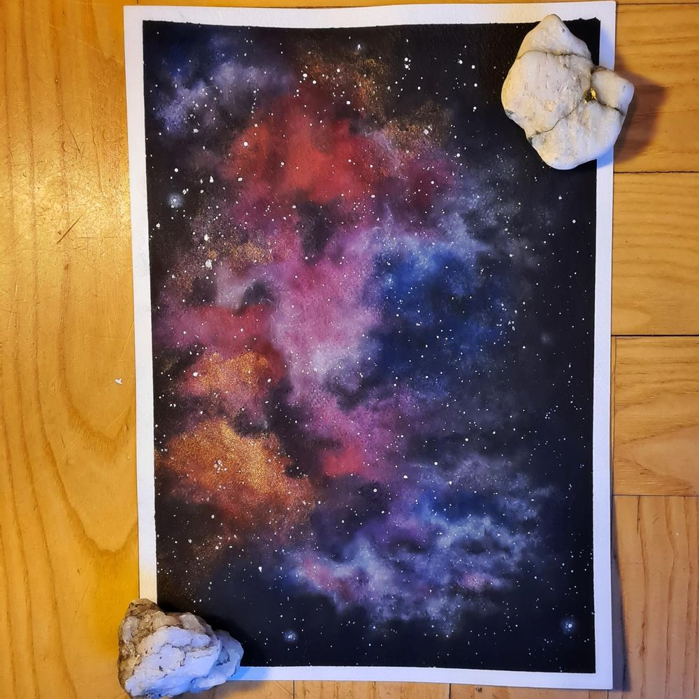 first attempt painting watercolor nebula - image 1 - student project