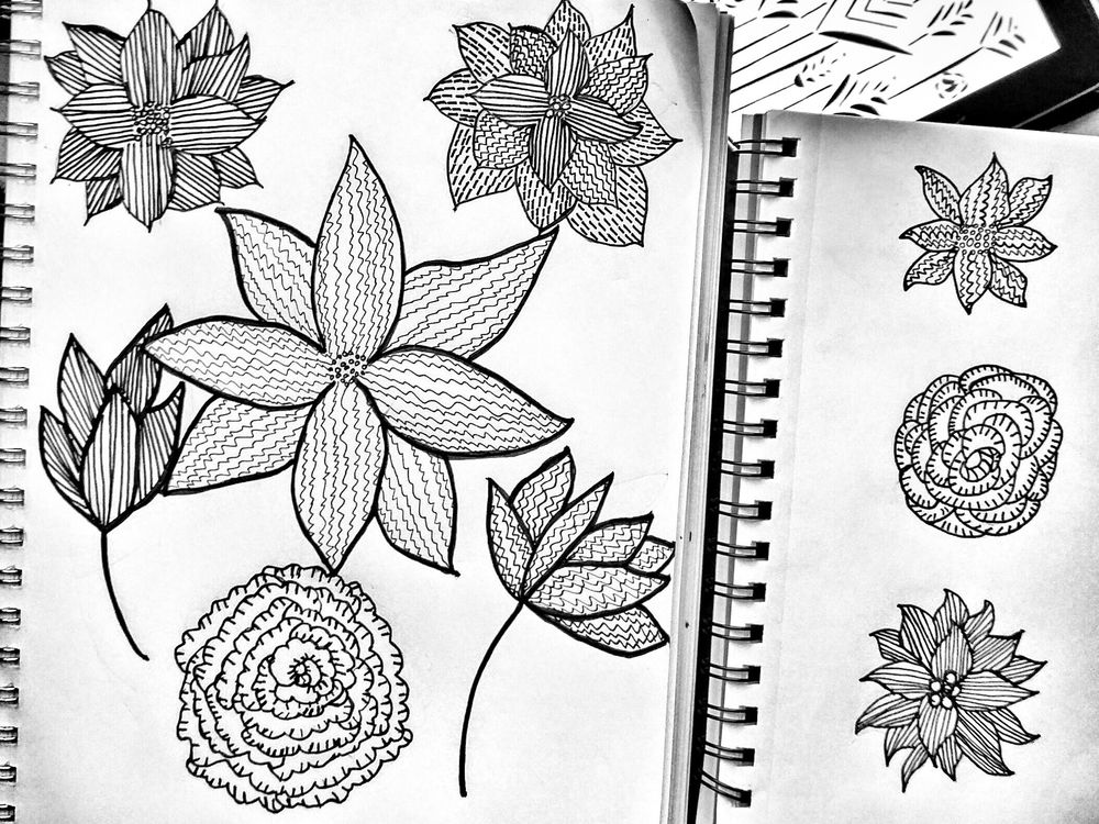 Simply Black and White Floral - image 1 - student project