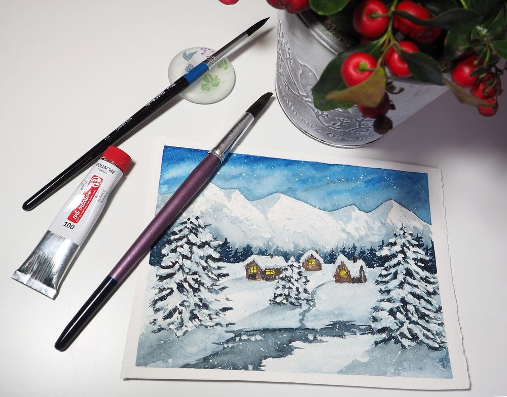 Snowy night in the mountains - image 1 - student project