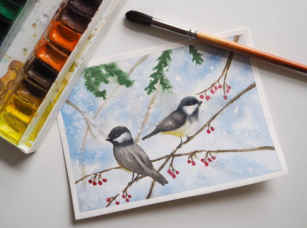Festive chickadees - image 1 - student project