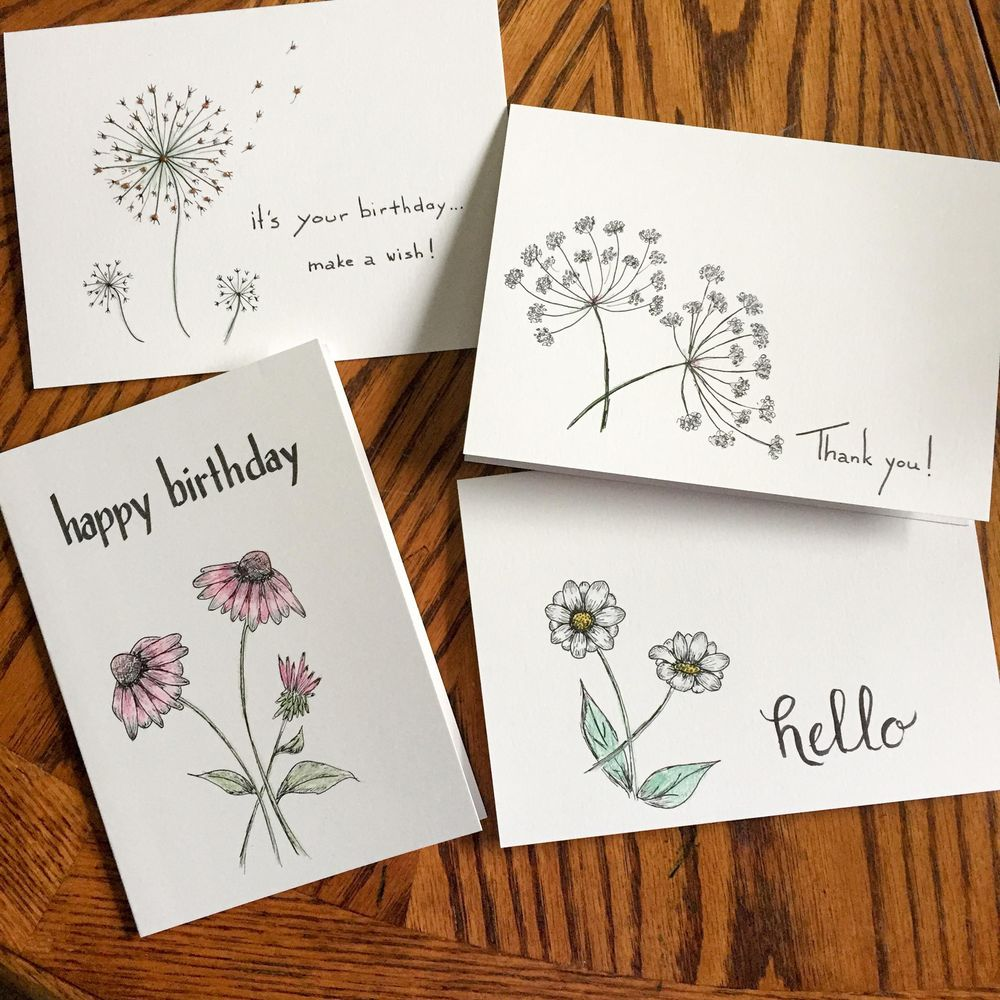 Drawing Wildflowers on Greeting Cards - image 1 - student project