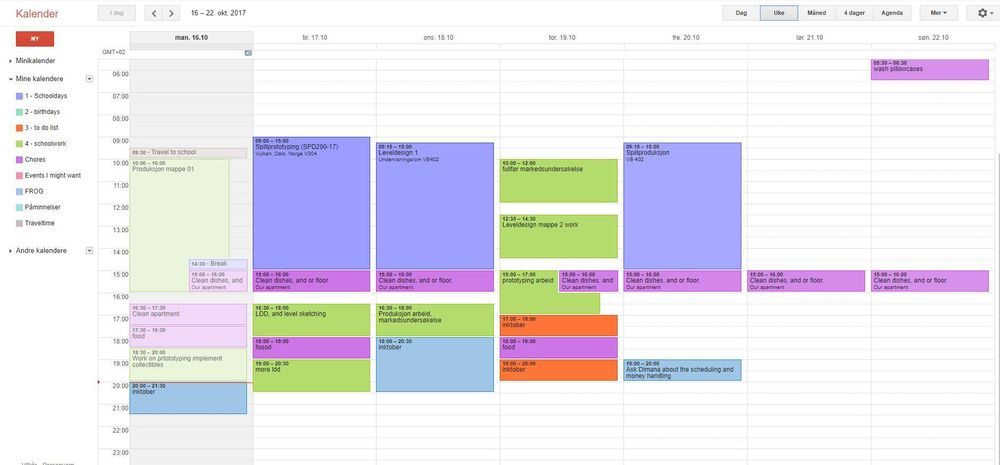 My current schedule - image 1 - student project