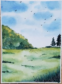 Green watercolor landscapes - image 2 - student project