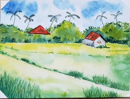 Green watercolor landscapes - image 1 - student project