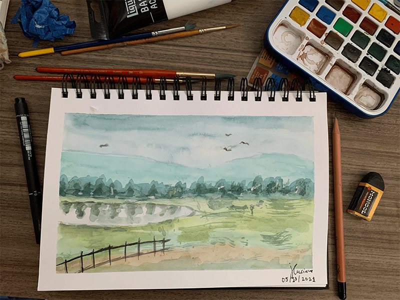 My First Loose Watercolor Landscape Painting - image 1 - student project