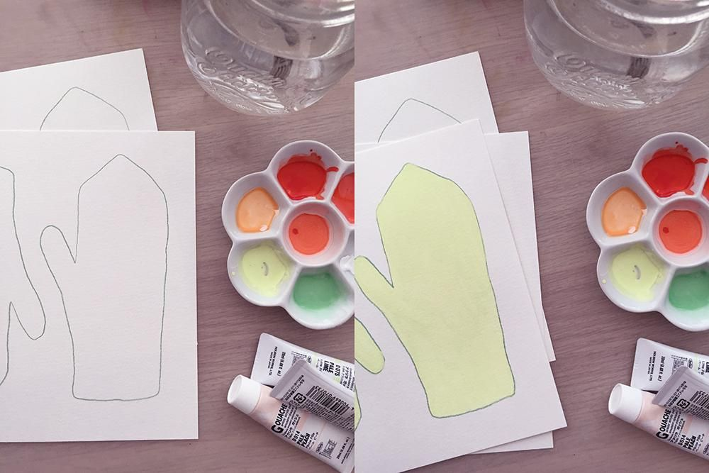 Painting Mittens in Pencil Crayon and Gouache - image 1 - student project