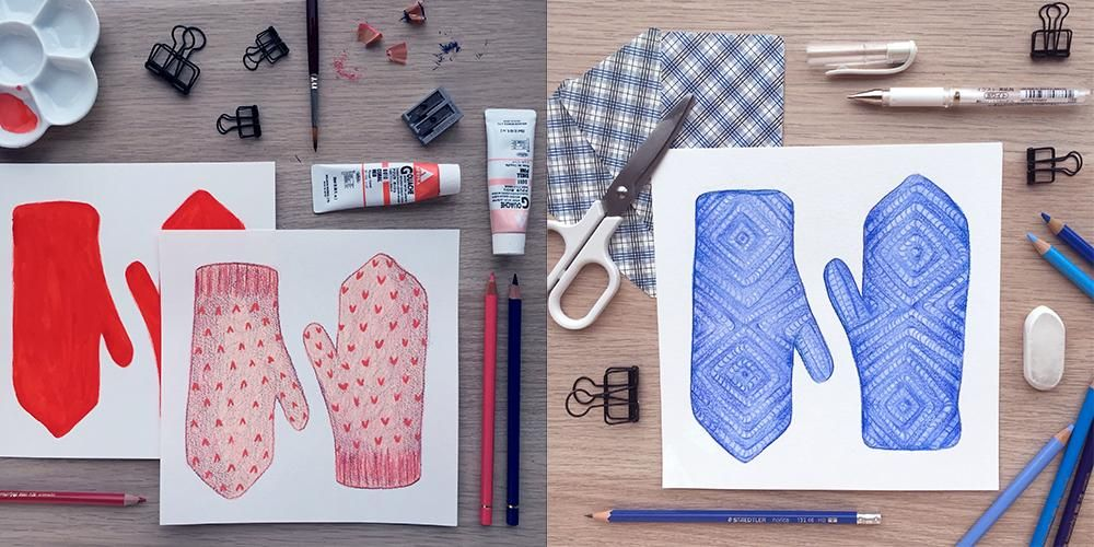 Painting Mittens in Pencil Crayon and Gouache - image 6 - student project